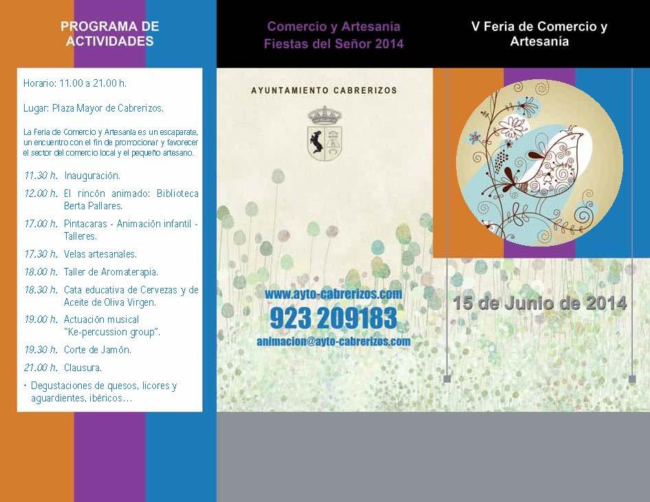 Este domingo, 15 de Junio, Feria de Comercio y Artesanía en Cabrerizos, Salamanca.